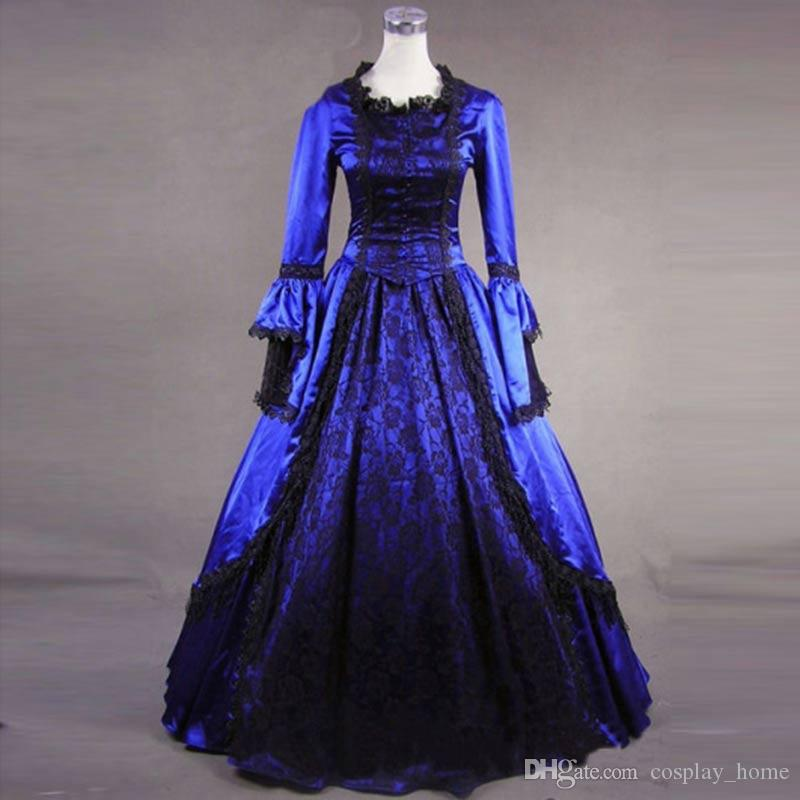 92ced18efeb0 European Court Blue Gothic Victorian Historical Dress Long Sleeve Lace  Ruffles Masquerade Ball Gowns Costume Dresses For Parties Elegant Cocktail  Dresses ...