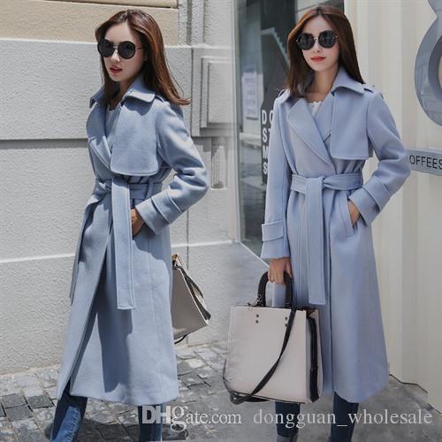 Simple Feminino New Manteau Ceinture Uk Surdimensionné Casaco Automne Hiver Long Us Femme 2019 Femmes Bleu Clair wkXTOPZiu