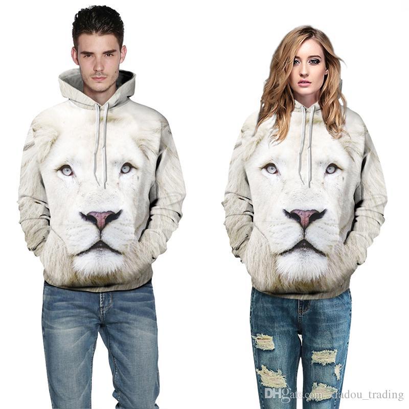 Couples Hommes Femmes 3D Imprimé Imprimé Lovers Sweat À Capuche Sweat Veste Pull Top White Lion Livraison Gratuite S / M-XXL / XXXL