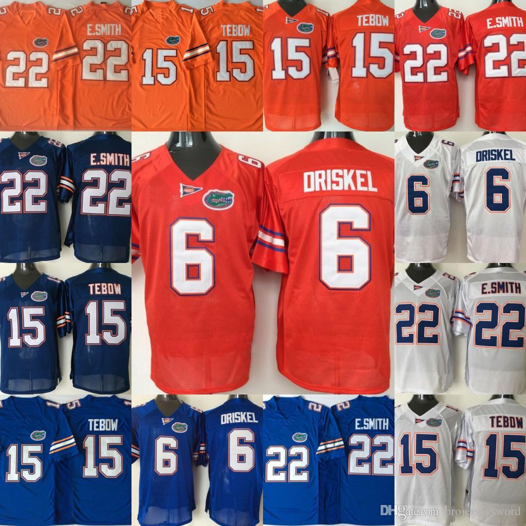 competitive price 76321 5643a Mens Florida Gators College Jersey 15 Tim Tebow Jersey 22 E.Smith 6 Jeff  Driskel Home Away Orange Blue Navy White