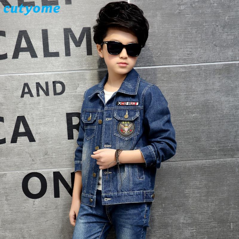 Cutyome Boys için 3-14 Yıl Çocuklar Denim Ceketler Rahat Tek Göğüslü Hırka Yırtık Kot Mont Bahar Autmn Çocuk Yıpratır