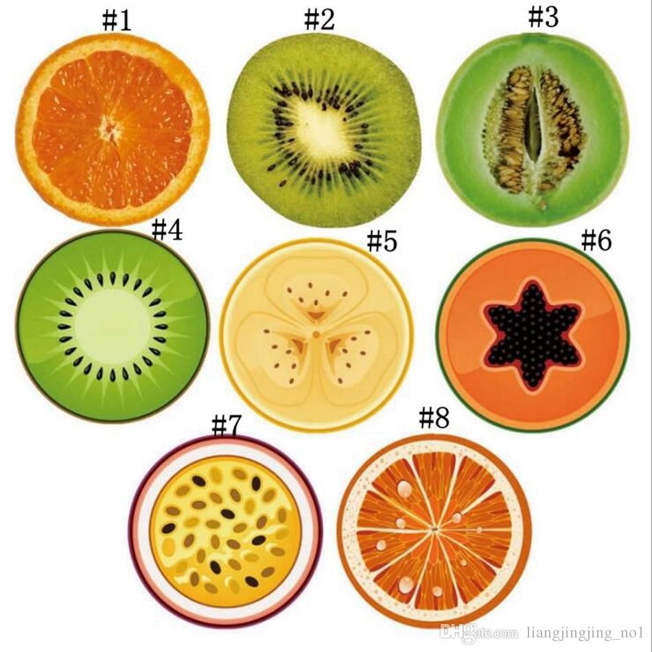 Serviette de plage ronde 150 * 150cm avec motif de fruits Serviette de bain d'été 3D Tapis de yoga orange kiwi OOA4669