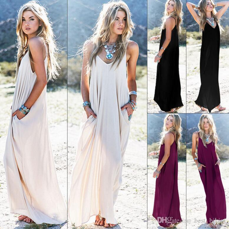 ab7b29ad3a3 Women s Summer Boho Casual Long Maxi Evening Party Cocktail Beach Dress  Sundress Belt Collar Pocket Long Skirts Sexy Woman Dress KKA4087