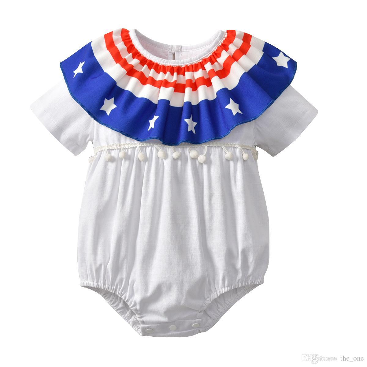 Мода детские с короткими рукавами 2Layer воротник комбинезон красный синий американские флаги дети комбинезоны летние детские ползунки День Независимости праздник