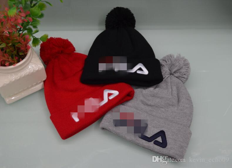 6f413fa1 2019 Hight Quality FILA Beanies Men Women Autumn Winter Beanies Knitted  Letter Embroidery Casual Ladies Pom Pom Gorro From August_luck, $7.65 |  DHgate.Com