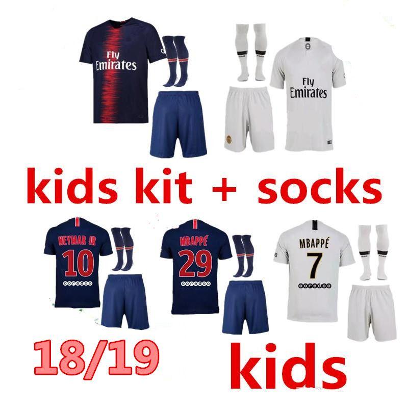 Compre 18 19 Kit PSG Kids Maillot De MBAPPE Camisas De Futebol 2018 2019  CAVANI DANI ALVES Paris Saint Germain Criança Camisa De Futebol Camisetas  Uniforme ... f9c21ce08d772