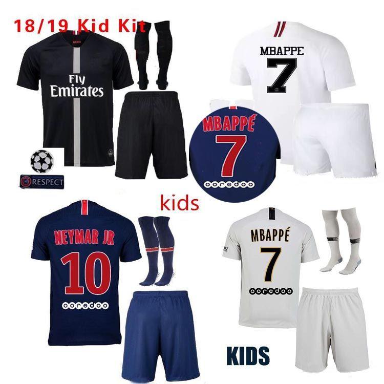 679f9299a 2018 2019 Kids Kits Soccer Jerseys Wear Child 18 19 Mbappe Home ...