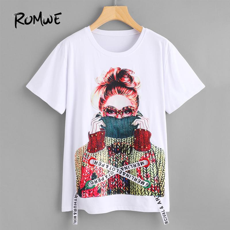 ROMWE Figure Print Pearl Embellished White T-Shirt Women Short Sleeve Summer Tops 2018 Fashion New Female Funny O Neck T-ShirtY1882902