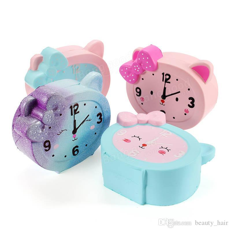 12cm Jumbo Squishy Cute Alarm Clock Rainbow Slow Rising Clock Kids Doll Cake Toys Decor Soft Squeeze Fun Joke Gifts Accessories Mobile Phone Straps