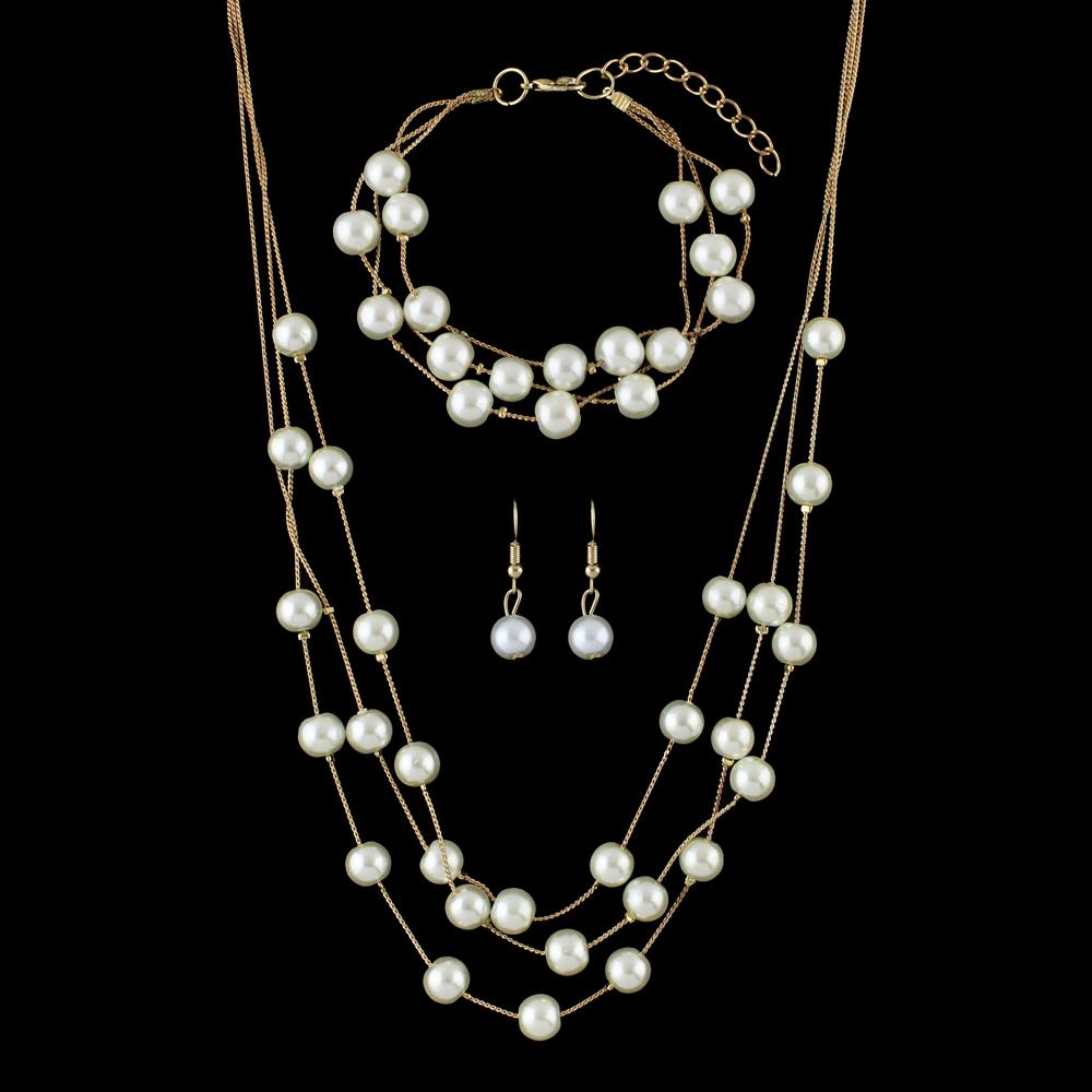 FANHUA Jewelry Sets Silver Gold-Color Multi Layers With Simulated Pearl Chain Necklace and Dangle Earring and Chain Bracelet