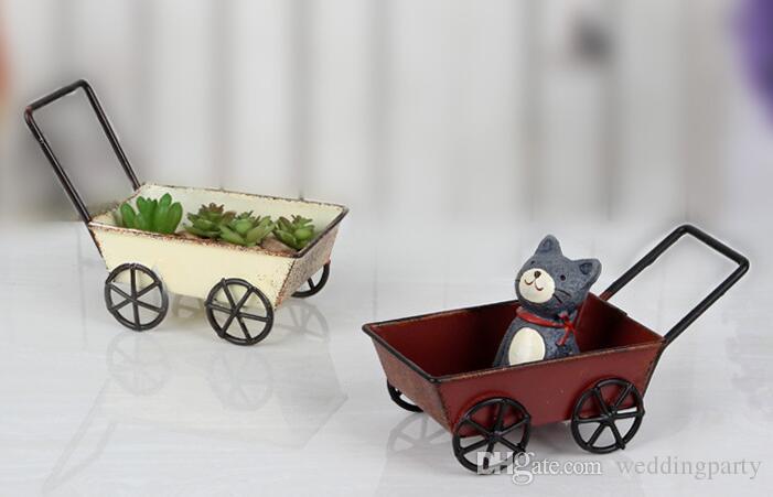 Vintage Schmiedeeisen Trolleys Mini Handgefertigte Wagen Miniatur Fee Garten Handwerk Dekoration Lagerung Spielzeug