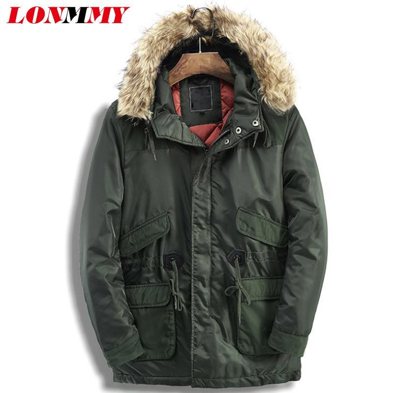 LONMMY veste coupe vent hommes hiver parkas vestes et manteaux d'hiver pour hommes chaud col en fausse fourrure capuche vert armée manteau long épais