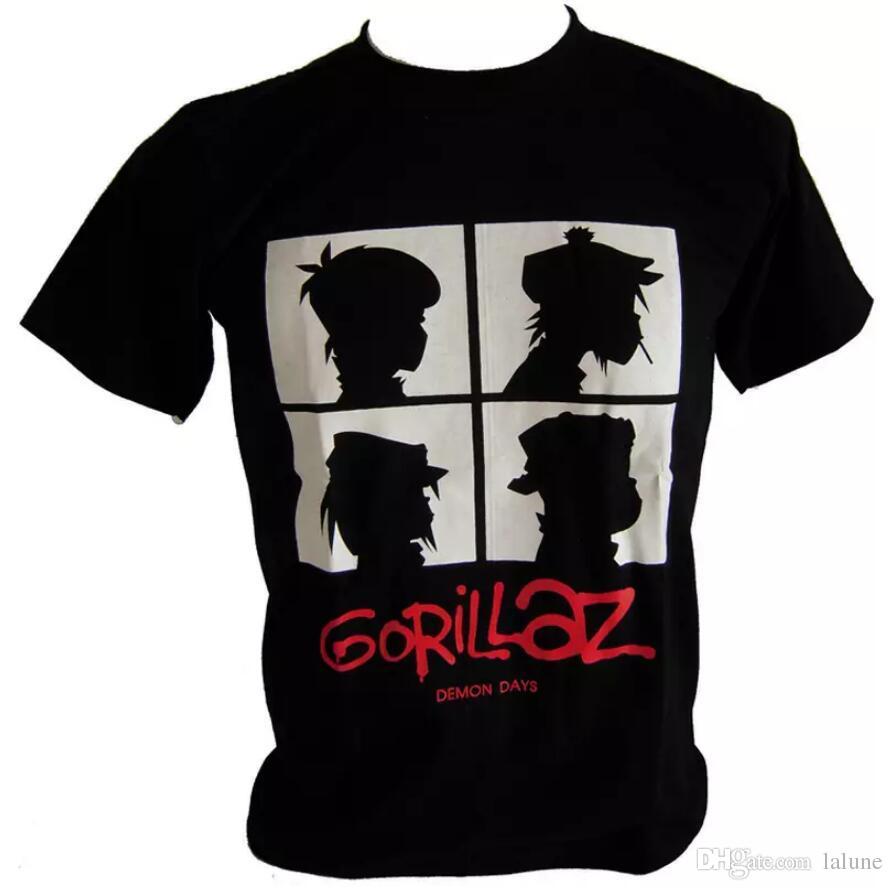 Gorillaz Rock Band Tees Rap Hip Hop Men s White Black Graphic T Shirts  Gorillaz Mens Casual Cotton Summer Style Plus Size Shirts
