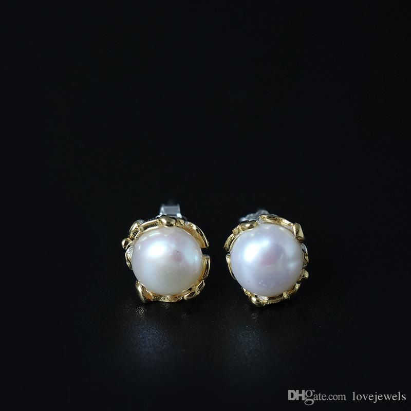 7731f86b8 2019 New Arrival 925 Sterling Silver Earring Fashion Jewelry Anti Allergy  Of Natural Freshwater Pearl Ear Studs Charm Wholesale Woman Jewelry From ...