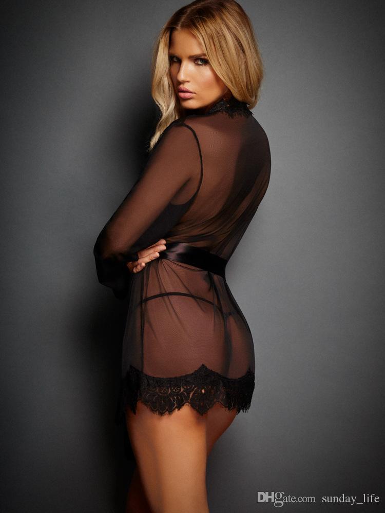 !!!Sexy Lingerie Women Transparent Lace Nightie Erotic Dress Night Gown Robe Sex Lingerie Sleepwear Sets Women Nightwear