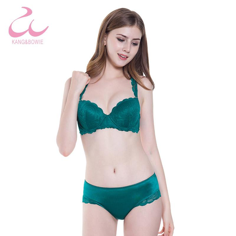d5843915e7c Kang Bowie 32 34 36 38B Cup Size Green Lace Bra Panty Set Ladies Fancy  Bralette Brand hot Women s Bras Underwear Bra Brief Sets