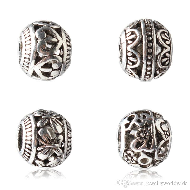 5 Style Flower Butterfly Round Alloy Charm Bead Fashion Women Jewelry Stunning Design European Style For Pandora Bracelet Necklace