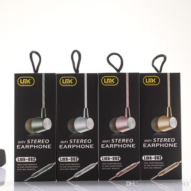 Wired Metal Earphone 5 Colours In-ear Headset With Mic Microphone Stereo Bass Earbuds for Phone Iphone Samsung Huawei