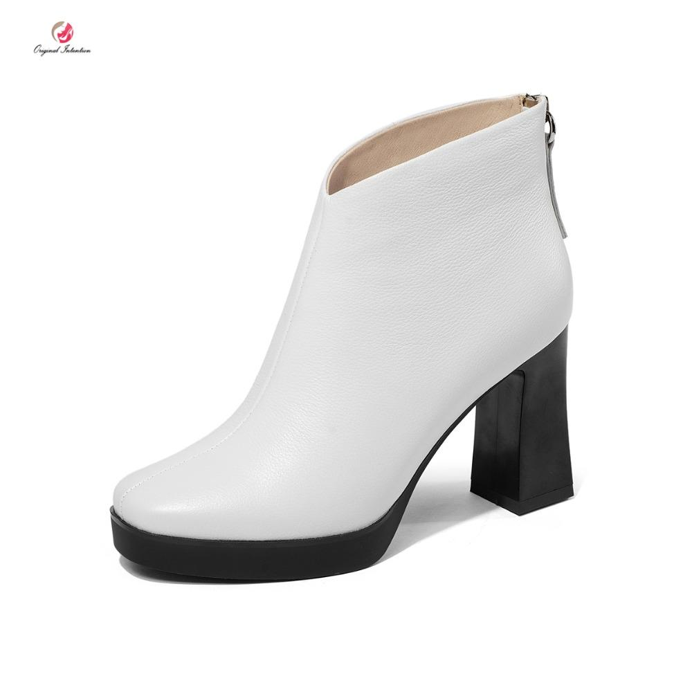 76688d031a7 Original Intention Cow Leather Women Boots Stylish Block Heels Suqare Toe  Winter Boots Black White Shoes Woman US Size 4 8.5 Knee High Boots Riding  Boots ...