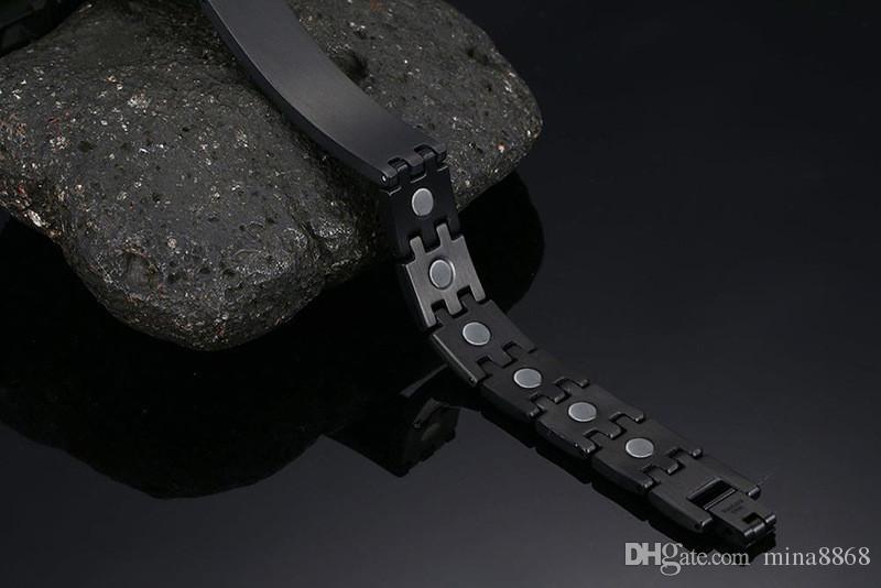Pulseras hombre encantos pulseras de identificación de alerta médica de acero inoxidable con pulsera de terapia magnética en negro alivio del dolor