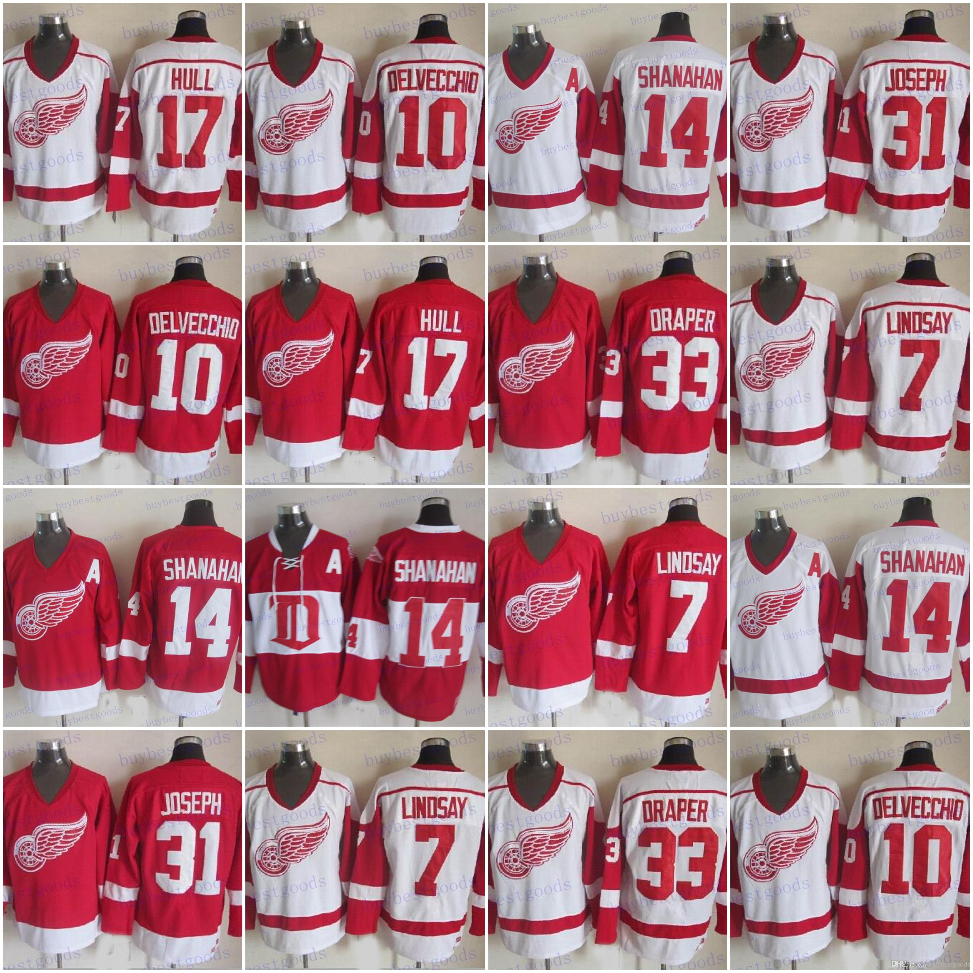 8776bf080 2019 CCM Detroit Red Wings 7 Ted Lindsay 33 Kris Draper 17 Hull 10 Alex  Delvecchio 31 Curtis Joseph 14 Brendan Shanahan Hockey Jersey From  Buybestgoods