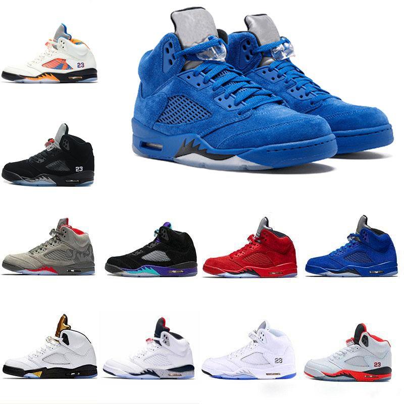 best sneakers 8e47f eaa46 Air Jordan Retro 5 5s Nike AJ5 2018 Hombres Zapatillas De Baloncesto 5 5s  Azul Rojo Blanco De Gamuza Cemento Espacio Mermelada Oreo OG Metálico Negro  ...