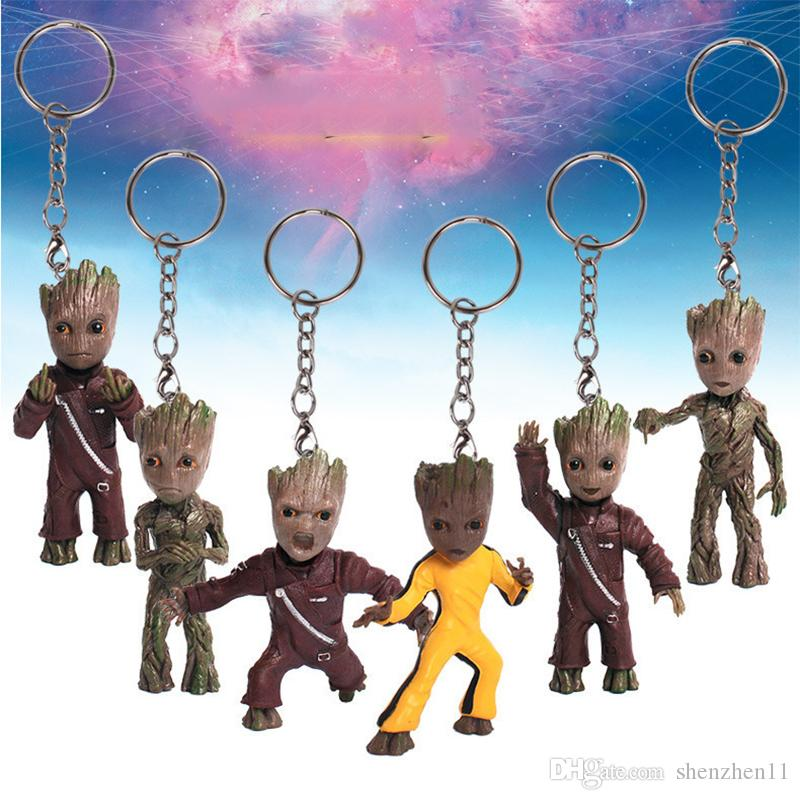 Guardians of the Galaxy 2 Baby Groot PVC Figures with Keychain Pendants Collectible Model Toys 6pcs/set 7cm OTH802