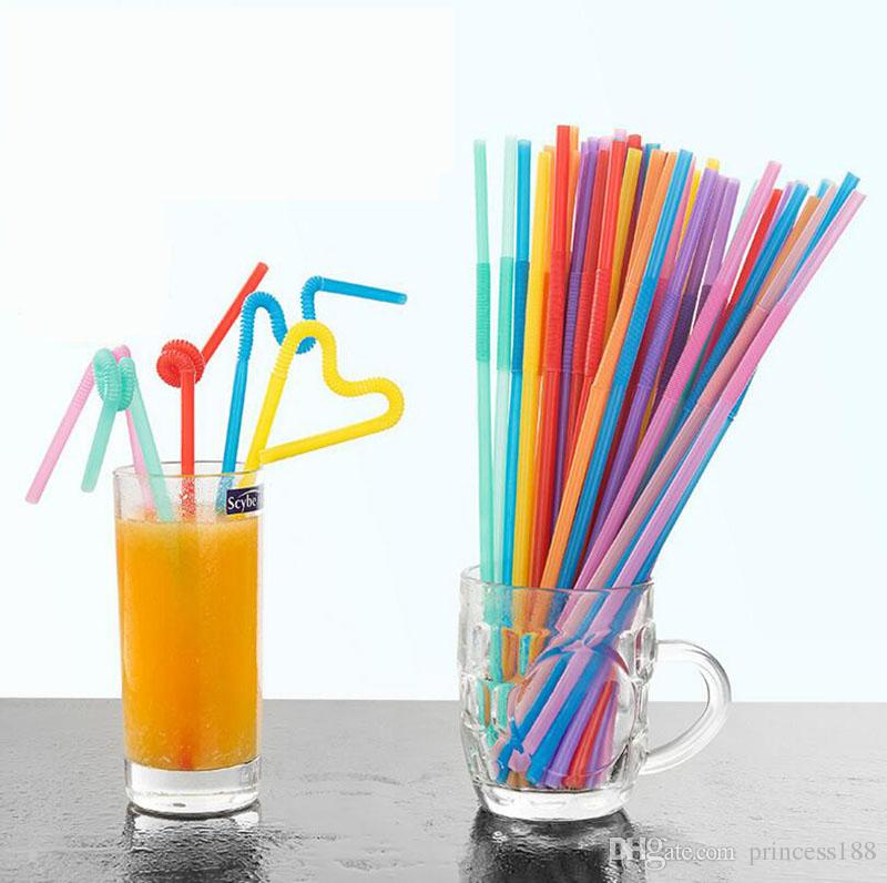 100pcs/package Colorful Creative Art Straw Disposable Curved Juice Drink Milk Tea Long Straw Package Mail
