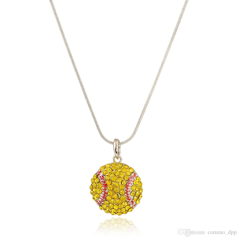 High quality Ball Sports necklace Crystal Rhinestone softball baseball basketball pendant Snake chains For women Men s Fans Fashion Jewelry