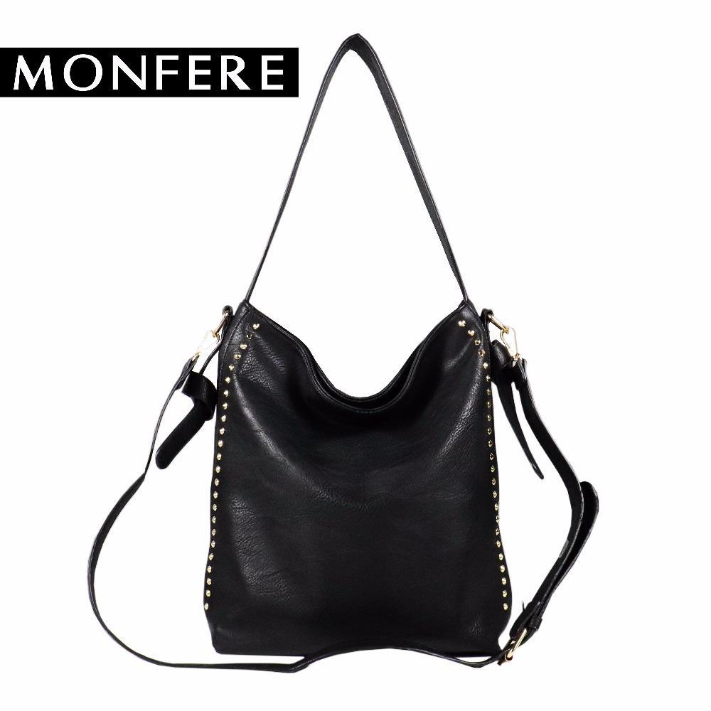 3a8101ba09 Monfere Large Casual Hobo Bag Women Soft Fashion Girls Shoulder Bags Female  Rock Rivets Zipper Strap Bags Crossbody Bag Handbag Designer Handbags On  Sale ...