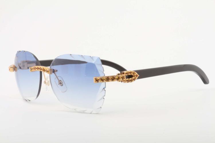 846f3164d1 Compre 2018 Nuevas Gafas De Sol De Espejo Talladas A Mano De Madera Natural  Modelo 8300817 A Lentes Talladas De Alto Grado Gafas De Cuerno De Diamante  Negro ...