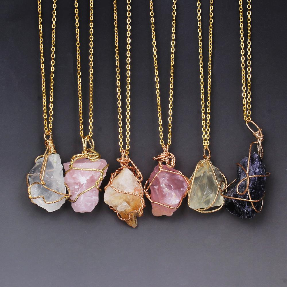 Wholesale Stone Necklaces Gold Chain Wire Wrapped Punk Irregular ...