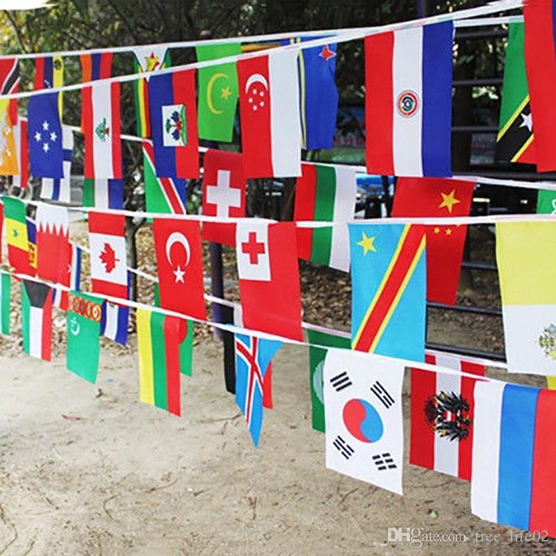 Großhandel 2018 Russische WM Fußball Fußball 32 Mannschaften Nationalflagge Land Welt Banner Bunting 14 * 21 cm String Flagge