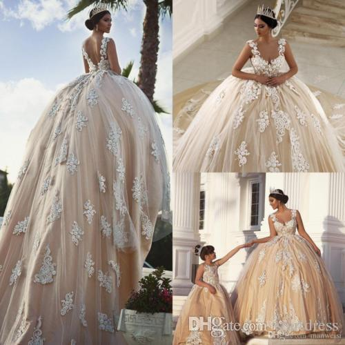 Princess Ball Country Champagne Wedding Gowns Cap Sleeve Puffy Applique Floral bohemian Gothic Cheap Long Train Bridal Dress Backless Formal