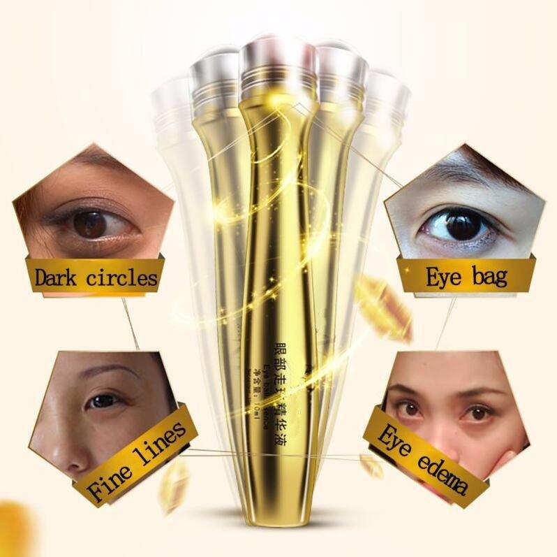 Gold Roll Ball on Eye Cream Pouch Moisturizing Dark Circle Essence Crystal Collagen activating eye cream 10ml