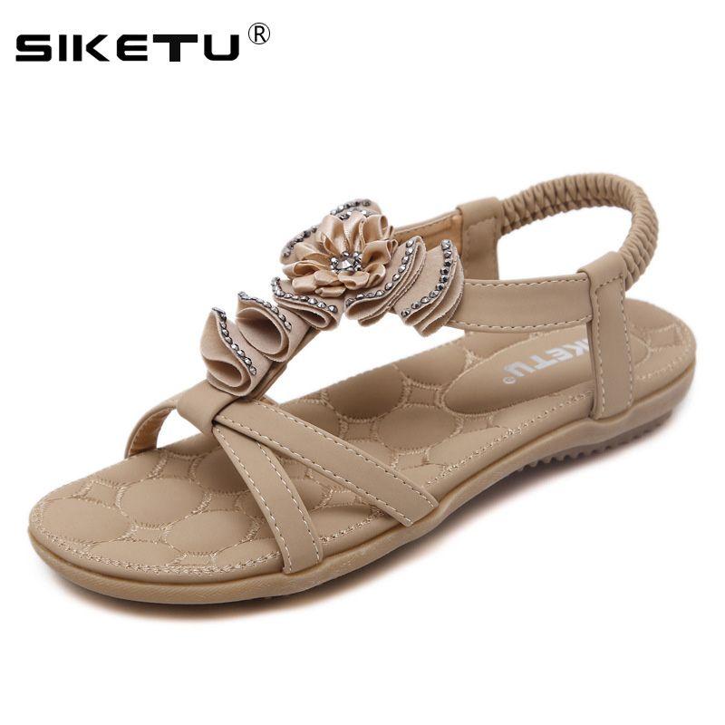 3203ef2116fb0 SIKETU Comfortable Flat Heel Sandals Women Large Size Summer Shoes Woman  Bohemia Flowers Rhinestone Beach Ladies Shoes WSH2395 Gold Sandals Sandals  For ...