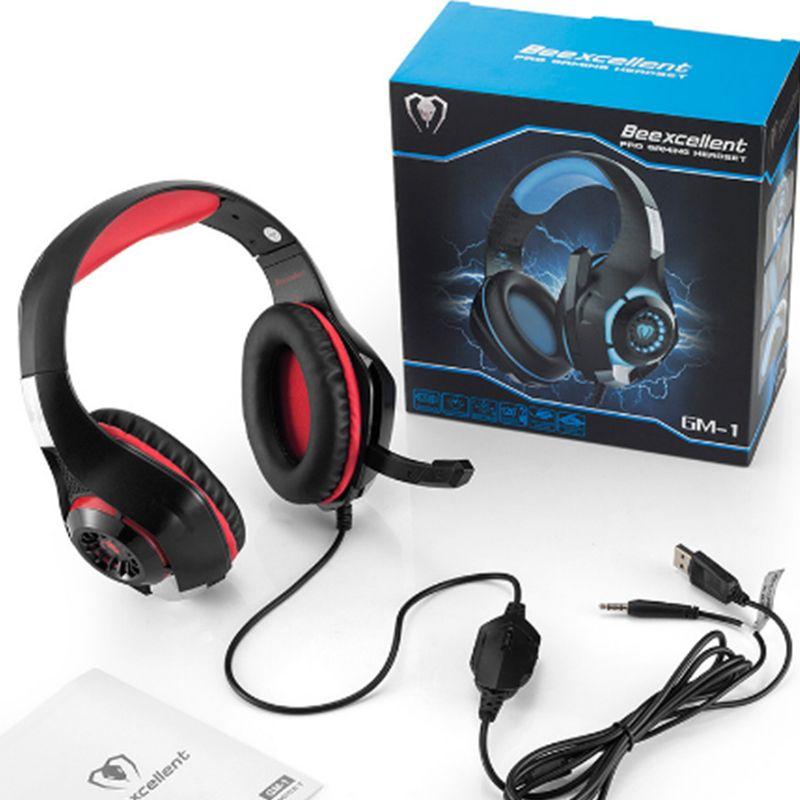 Beexcellent gm-1 gaming 3.5mm usb wired headband fones de ouvido com microfone led luz estéreo jogo para o telefone pc ps4 xbox one dhl