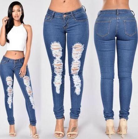 Women Solid Color Skull High Waist Elasticity Slim Wash Jeans Pencil Pants Feet Pants S M L XL 2XL