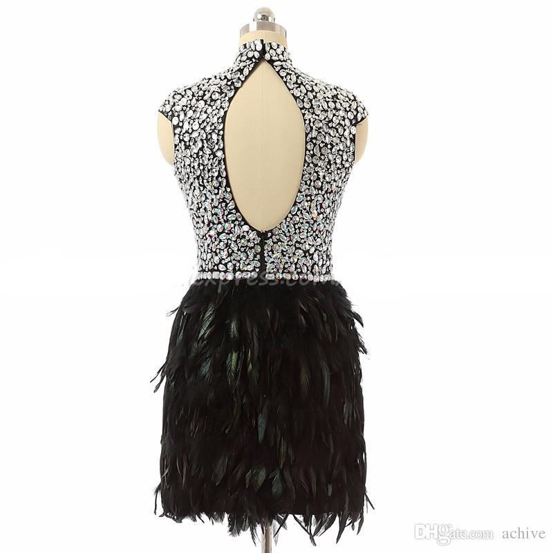 Yüksek Boyun Kristal Boncuklu Kokteyl Elbiseleri 2018 Tüy Elbiseler Backless Kısa Gelinlik Modelleri Özel Made Mezuniyet Törenlerinde Parti Elbise