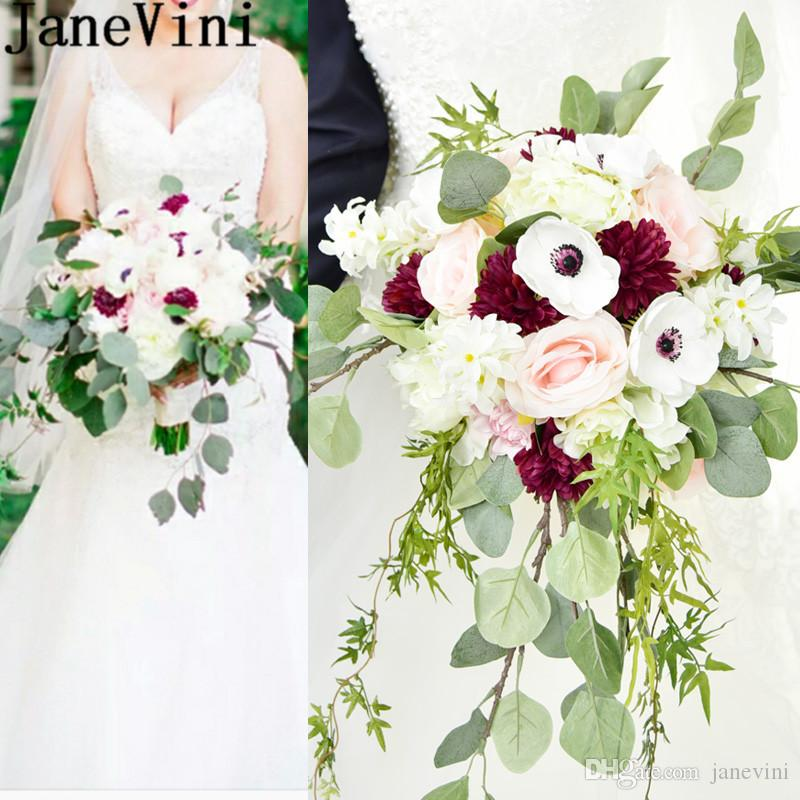 Janevini Vintage Wedding Flower Bouquet 2018 Artificial Rose Bridal ...
