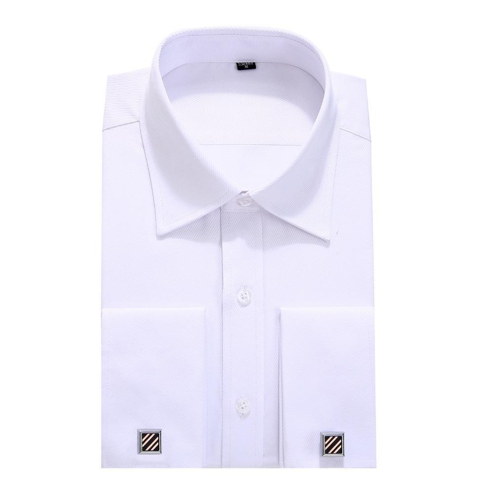 Xxl Xl 3xl M 5xl L 4xl Männer Französisch Manschettenknöpfe Business Kleid Shirts Mit Langen Ärmeln Weiß Blau Twill Asiatische Größe S 6xl