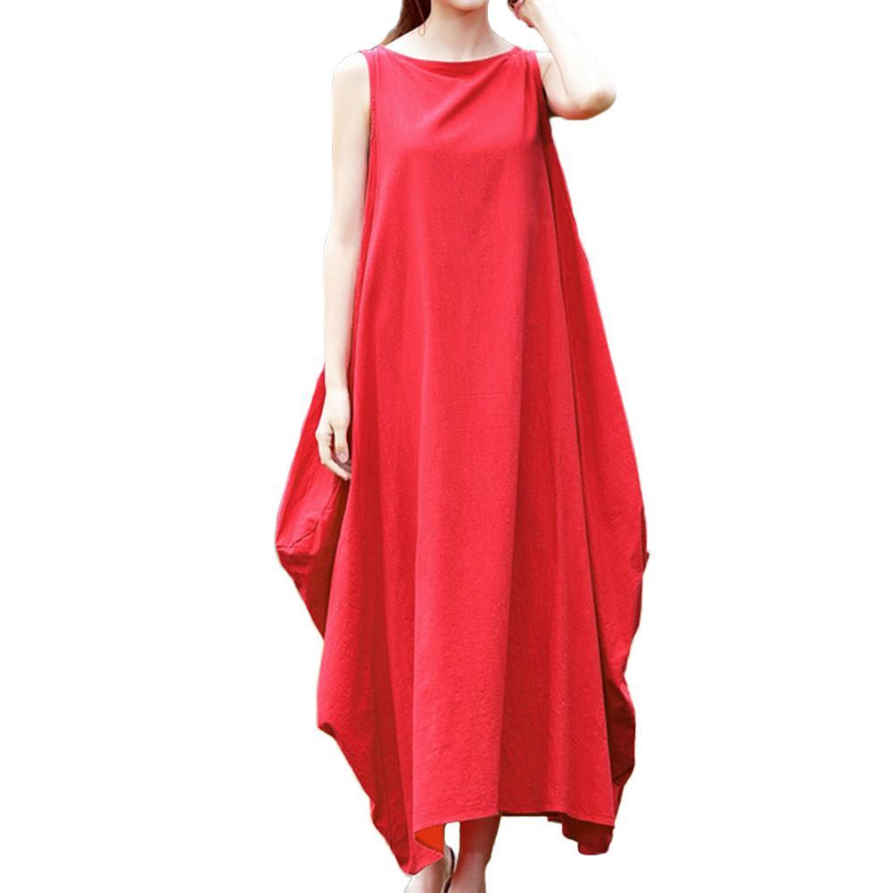 6879c33f5221d 5XL Plus Size Vêtements Pour Femmes Maxi Sans Manches Lâche Robe Poches O  Cou Solide Mori