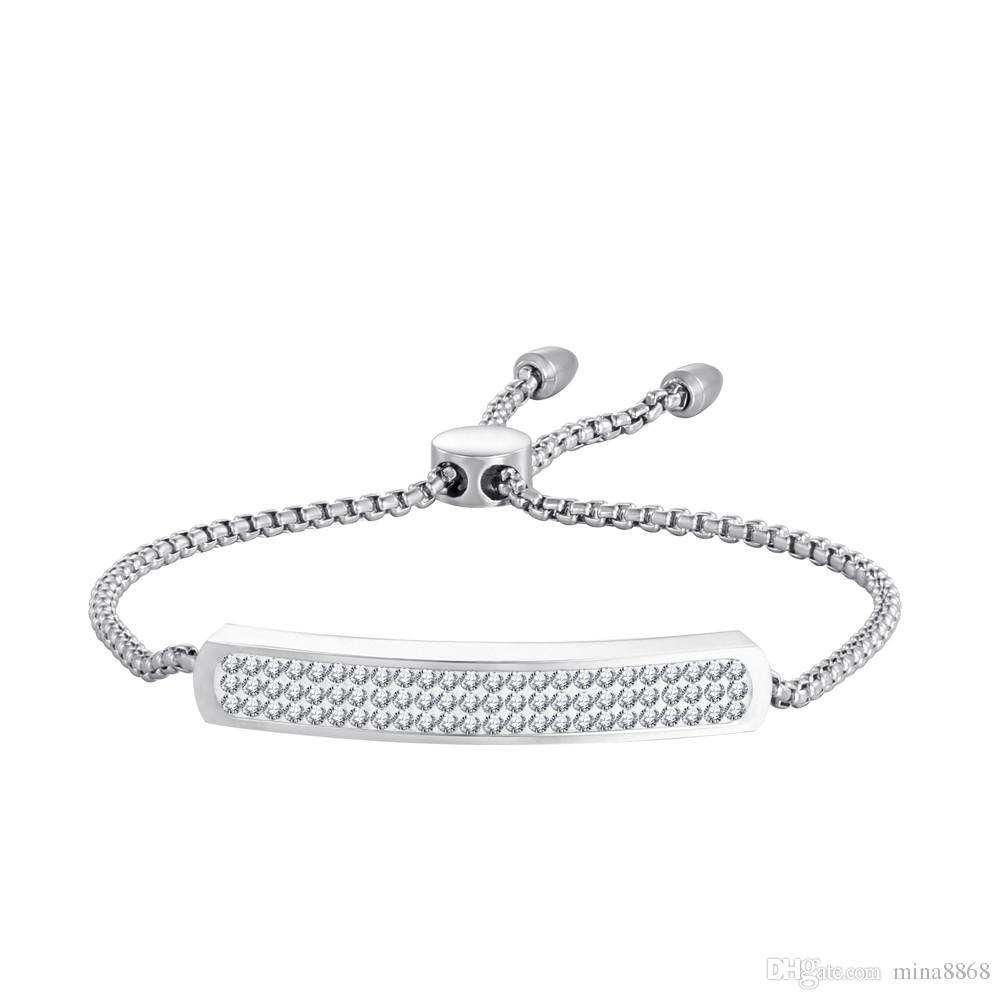 Joyería de moda Classic Women Pulsera de acero inoxidable con Rhinestone Stone Shiny Silver Color pulsera de cadena ajustable Envío de la gota