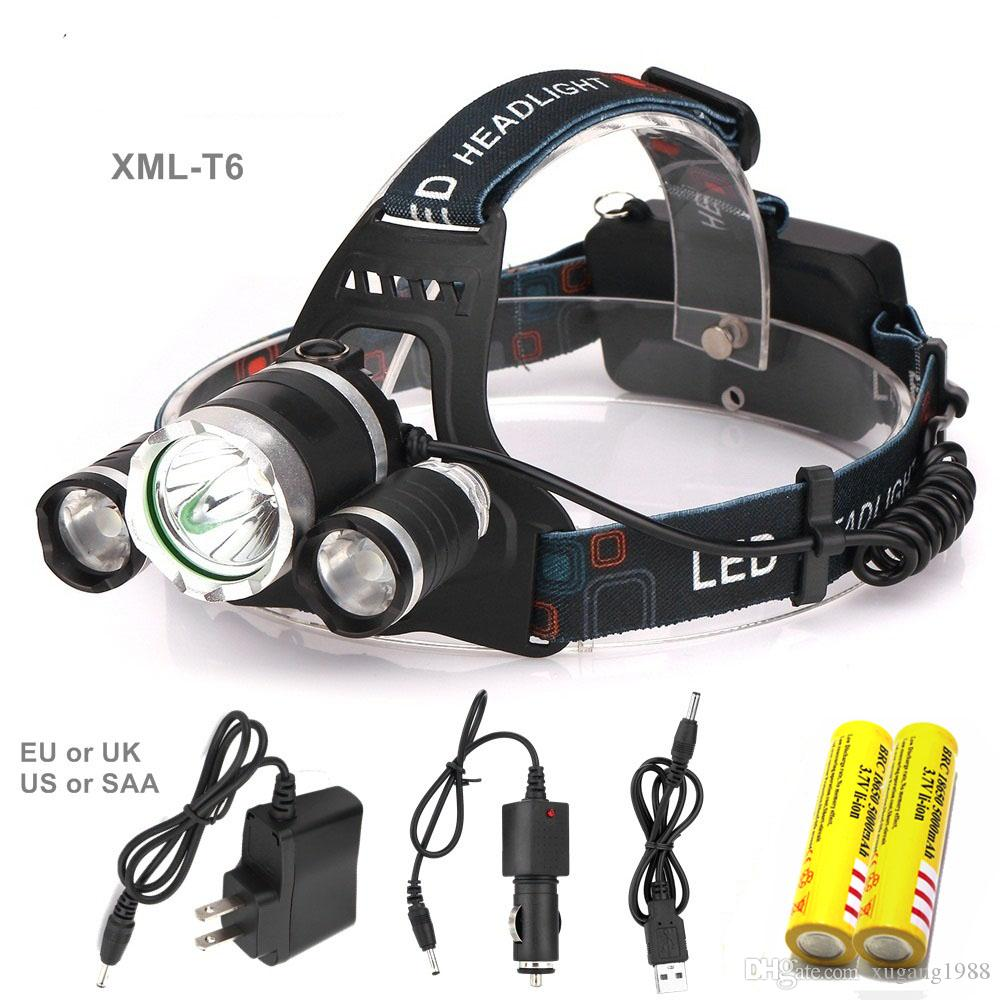 8000LM high Led lighting Head Lamp 3T6 Boruit LED Headlamp Headlight Camping Fishing Torch Lanterna Headlamp night Rechargeable by 2x 18650