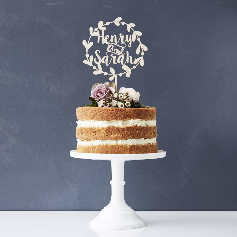 2019 Rustic Personalized Wedding Cake Topper Custom Name Laurel