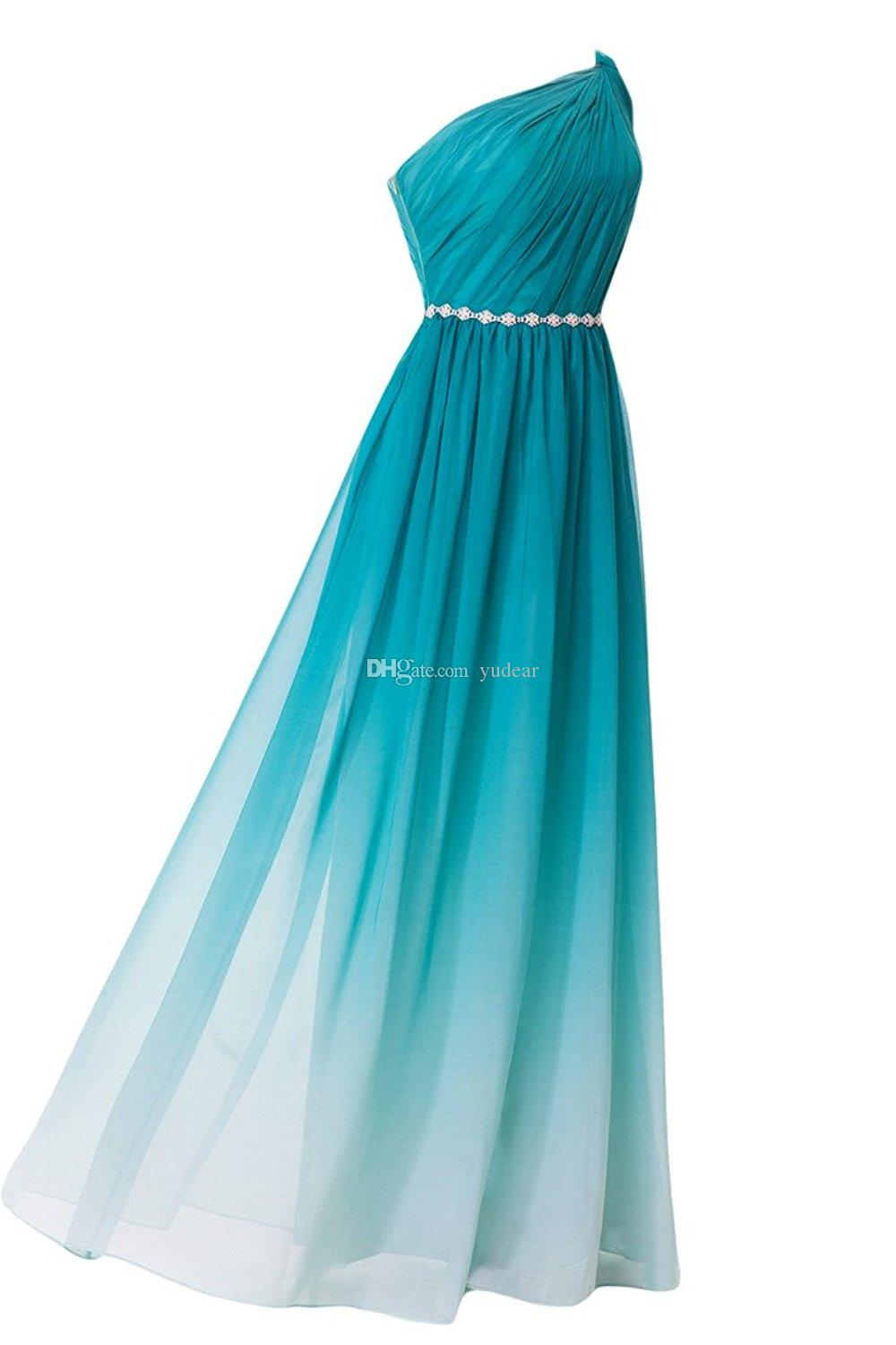Sassy 2019 One Shoulde A-line Gradient Color Prom Dresses Beads Sash Zipper Side Evening Gowns with Draped Ruched Maid of Honor Gowns