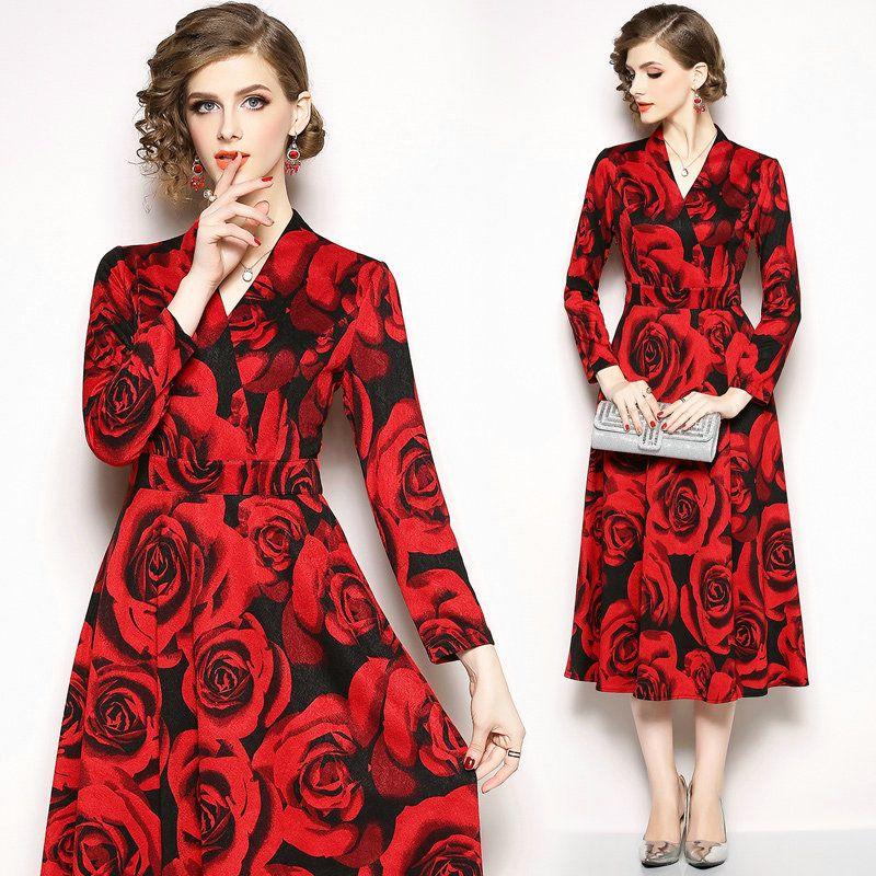 Autumn Winter Womens Dress Floral Long Sleeve V-neck Midi Dress ... 8598bce816d9