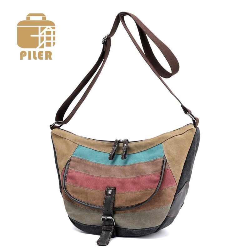 574ea82ceefe Piler Striped Fashion Women Saddle Bag Ladies Crossbody Messenger Bag Women  Small Canvas Shoulder Bags Purse Female Casual Hobo Fiorelli Handbags  Discount ...