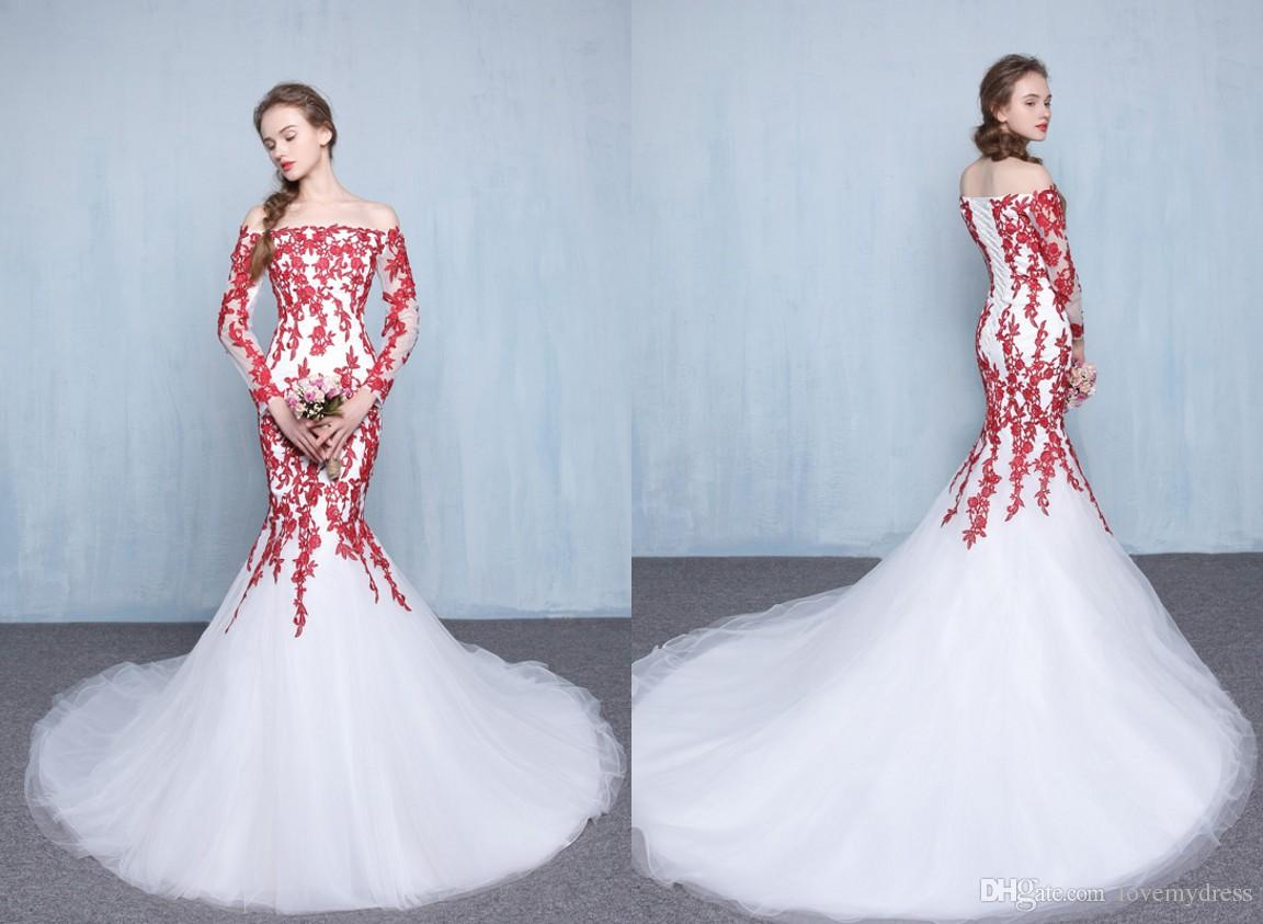 6bc2a02c78 Red And White Wedding Dresses With Long Sleeves Illusion Off the shoulder  Lace Applique Court Train Cheap Wedding Bridal Gown Lace up Back
