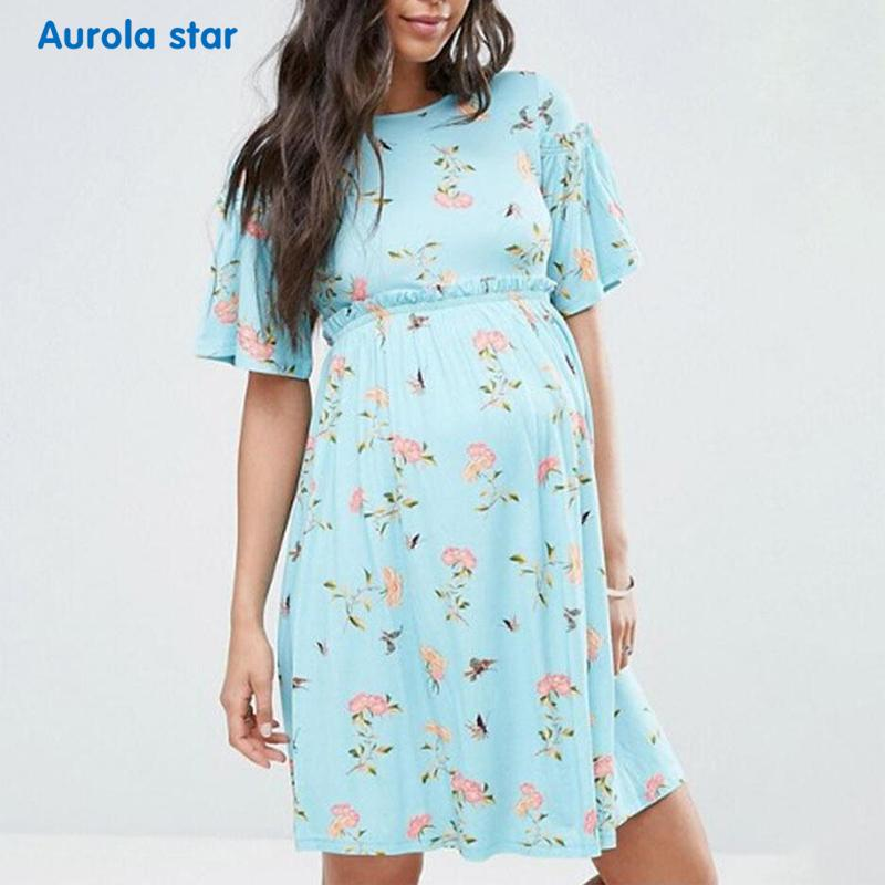 9af3614e4a362 2019 New Maternity Dresses Casual Boat Neck Summer Pregnant Dress Elegant  Short Sleeve Print Pregnancy Dress Plus Size Photograph From Ouronlinelife,  ...